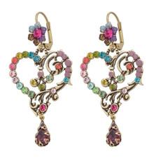 Michal Negrin Classic Earrings Heart Hook - Multi Color