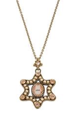 Michal Negrin Classic Necklace Kabbalah Star Of David - Multi Color