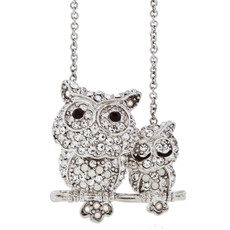 Hamilton Crawford Jewelry Double Owl Necklace Silver Necklace
