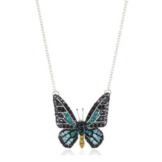Andrew Hamilton Crawford Necklace Small Crystal Butterfly Necklace Blue