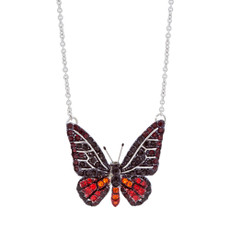 Andrew Hamilton Crawford Jewelry Small Crystal Butterfly Necklace Red Necklace