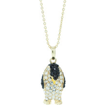 Hamilton Crawford Jewelry Marching Penguin Necklace Gold Jet Necklace