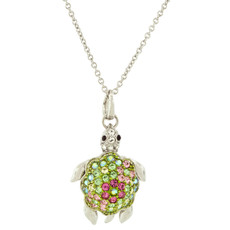 Andrew Hamilton Crawford Turtle Necklace Silver Green Necklace