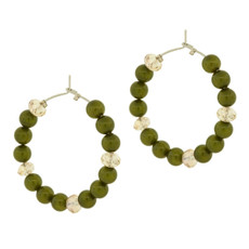 Andrew Hamilton Crawford Jewelry Beaded Hoops Green Earrings