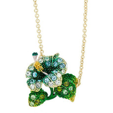 Andrew Hamilton Crawford Tropical Flower Blue Necklace