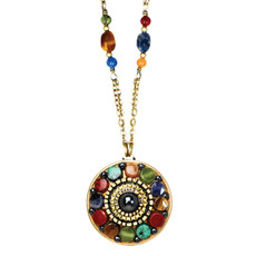 Michal Golan Necklace - Durango Round Pendant Double Chain
