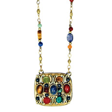 Michal Golan Necklace - Durango Square Pendant Beaded Chain
