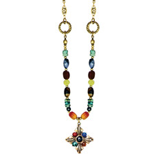 Michal Golan Necklace - Durango Small Diamond Pendant With Beaded Chain