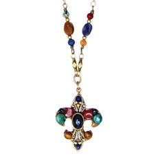 Michal Golan Necklace - Durango Fleur De Lis Pendant On Chain
