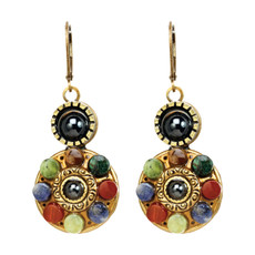 Michal Golan Earrings - Durango Double Round Pendant