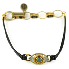 Evil Eye Bracelet- Silver, Medium Eye With Turquoise Crystal Center