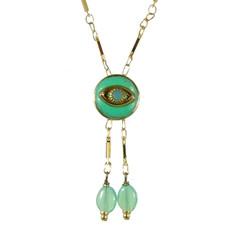 Evil Eye Necklace - Crystal Centered Eye & Two Dangles
