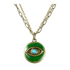 Evil Eye Necklace - Green Circle Pendant With Blue Centered Eye On Single Chain