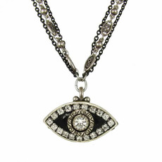 Evil Eye Necklace - Black, Medium Eye With Crystal Edges & Center