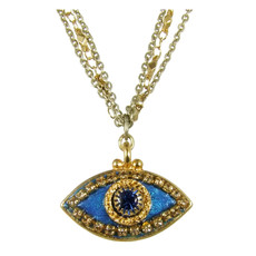 Evil Eye Necklace - Dark Blue, Medium Eye With Blue Center