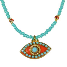 Evil Eye Necklace - Pink, Medium Eye With Blue Center & Edges