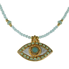 Evil Eye Necklace - Silver Eye With Opal Crystals On Single Beaded Chain