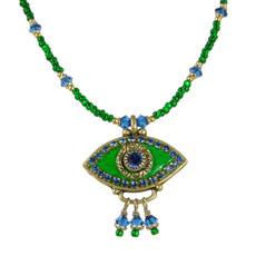 Evil Eye Necklace - Golan Green, Medium Eye With Blue Crystals & Three Dangles