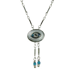 Evil Eye Necklace - Small, Silver, Oval With Clear Crystals & Two Dangles