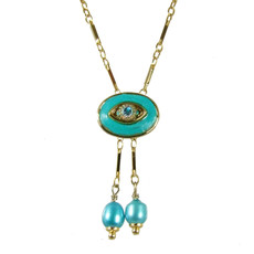 Evil Eye Necklace - Michal Golan Small, Turquoise, Oval With Crystal & Two Pearl Dangles On Single Chain