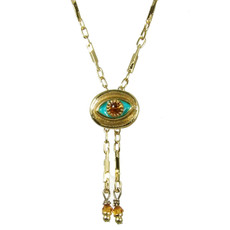 Evil Eye Necklace - Michal Golan Small, Gold Oval With Orange Crystals & Blue Center On Single Chain