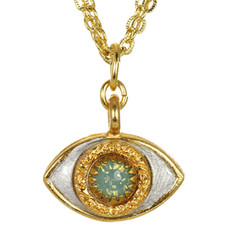 Evil Eye Necklace - Michal Golan Medium, Gray Eye With Aqua Crystal Center On Three Stranded Chain