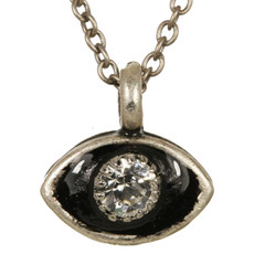 Evil Eye Necklace - Michal Golan Small, Black Eye With Clear Crystal Center On Single Chain
