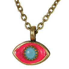 Evil Eye Necklace - Michal Golan Small, Pink Eye With Blue Crystal Center On Single Chain