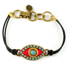 Evil Eye Bracelet - Michal Golan Bracelet - Pink, Medium Eye With Blue Bead Center & Edges