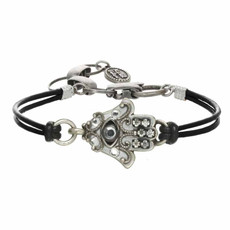 Michal Golan Hamsa Bracelet - Silver And Black Small Intricate Hamsa