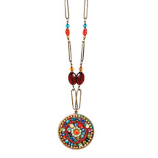 Michal Golan Necklace - Multibright Round Long Chain With Beads
