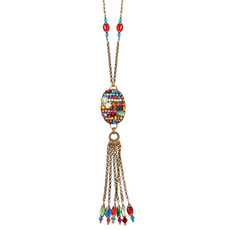 Michal Golan Necklace - Multibright Oval With Tassels Chain With Beads