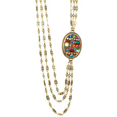 Michal Golan Necklace - Multibright Oval Pendant With Triple Chains