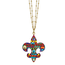 Michal Golan Necklace - Multibright Fleur De Lis Pendant On Double Chains
