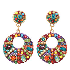 Michal Golan Earrings - Multibright Medium Hoop