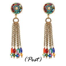 Michal Golan Earrings - Multibright Round Pendant With Tassel