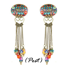 Michal Golan Earrings - Multibright Oval Chain Dangles