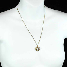 Michal Golan Pendant Open Round With Peal Necklace