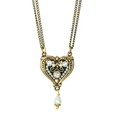 Michal Golan Deco Heart Pendant With Pearl Dangle