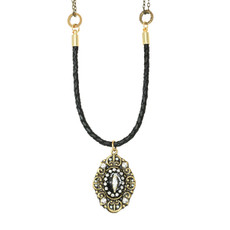 Michal Golan Deco Oval Pendant On Leather Necklace
