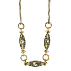 3 Parts Skinny Oval Pendant On Double Chain Necklace