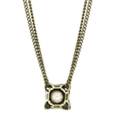 Mini Square Pendant With Crystal Center