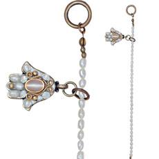 Michal Golan White Pearl Hamsa Bracelet