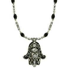 Michal Golan Black And Crystal Hamsa
