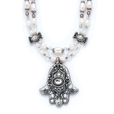 Pearl Hamsa Evil Eye Necklace