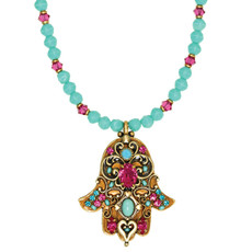 Michal Golan Teal And Pink Hamsa