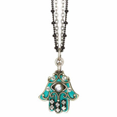 Small Green And Gold Crystal Hamsa