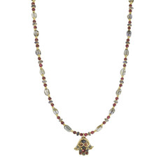 Michal Golan Small Iolite And Garnet Hamsa