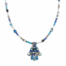 Michal Golan Multiblue Hamsa Necklace