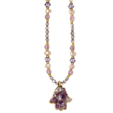 Small Purple Hamsa Necklace